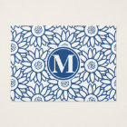 Monogram Classic Blue Sunflower Business Card