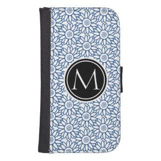 Monogram Classic Blue Sunflower Pattern Samsung S4 Wallet Case