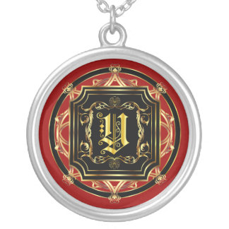 Monogram Classic Customize Edit Change Background Silver Plated Necklace