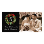 Monogram Classic Holly Wreath Christmas Photo Cards