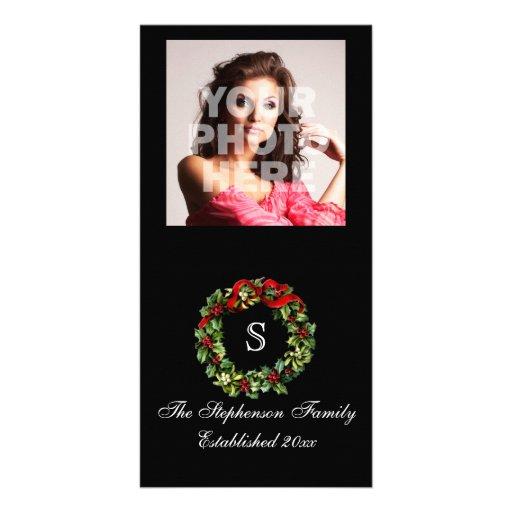 Monogram Classic Holly Wreath Custom Christmas Customized Photo Card