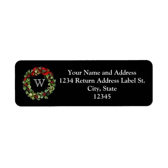 Monogram Classic Holly Wreath Custom Christmas Return Address Label