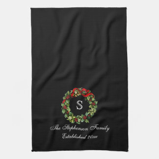 Monogram Classic Holly Wreath Custom Christmas Tea Towel