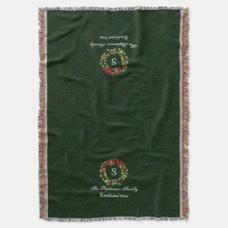 Monogram Classic Holly Wreath Custom Christmas Throw Blanket