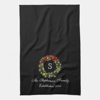 Monogram Classic Holly Wreath Custom Christmas Towel