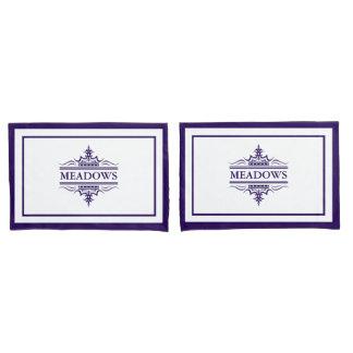 Monogram Classic Navy Blue And White Pillowcase