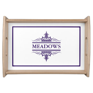 Monogram Classic Navy Blue And White Serving Tray