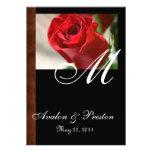Monogram Classic Rose & Leather Look Invitation