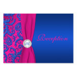 Monogram Cobalt and Fuchsia Damask Enclosure Card Pack Of Chubby Business Cards
