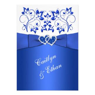 Monogram Cobalt Blue White Floral Wedding Invite