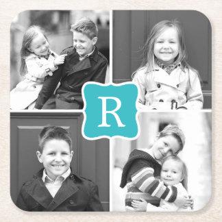 Monogram Collage Custom Photo Coasters - Turquoise