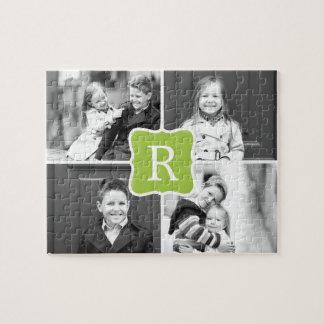 Monogram Collage Custom Photo Puzzle - Green