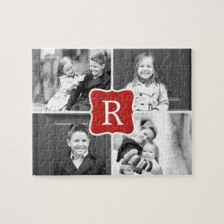 Monogram Collage Custom Photo Puzzle - Red