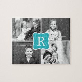 Monogram Collage Custom Photo Puzzle - Turquoise