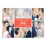 Monogram Collage Wedding Announcement - Coral