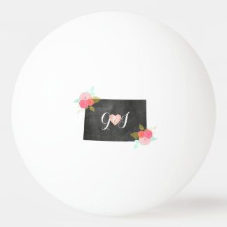 Monogram Colorado State Chic Floral Wedding Ping Pong Ball