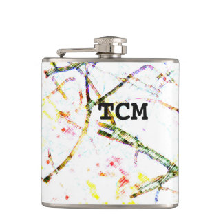 Monogram colorful branches on white pattern flasks