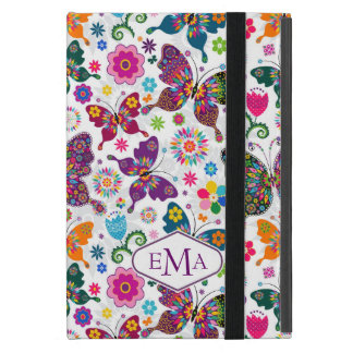 Monogram Colorful Butterflies & Flowers Pattern Cover For iPad Mini