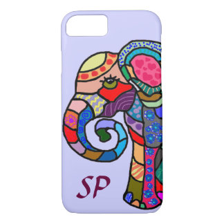 Monogram Colorful Folk Art Elephant Portrait iPhone 8/7 Case