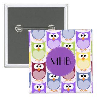 Monogram - Colorful Owls - Green Blue Purple 15 Cm Square Badge