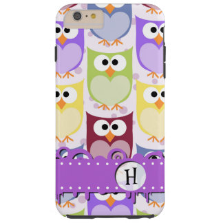 Monogram - Colorful Owls - Green Blue Purple Tough iPhone 6 Plus Case
