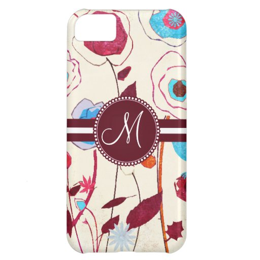 Monogram Colorful Spring Flowers Birds Mulberry Cover For iPhone 5C