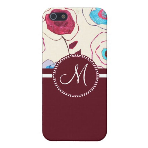 Monogram Colorful Spring Flowers Birds Mulberry Case For iPhone 5