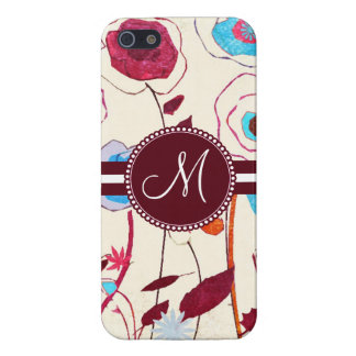 Monogram Colorful Spring Flowers Birds Mulberry Covers For iPhone 5