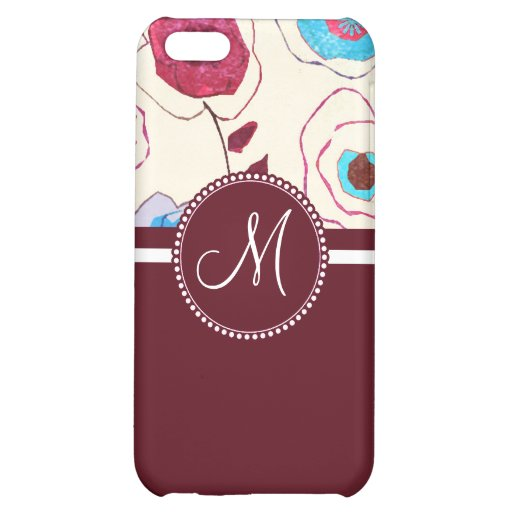 Monogram Colorful Spring Flowers Birds Mulberry iPhone 5C Cases