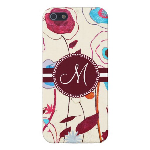 Monogram Colorful Spring Flowers Birds Mulberry Cover For iPhone 5