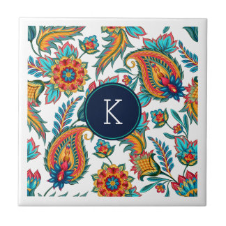 Monogram Colorful Vintage Floral Paisley Small Square Tile