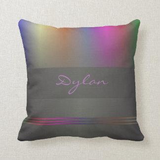 Monogram colour spectrum on black cushion