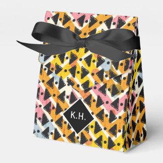 Monogram colourful criss cross weave yellow black party favour boxes