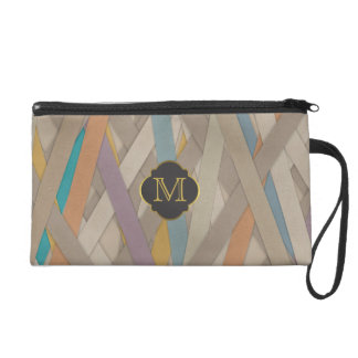 Monogram Colourful leather strapped Wristlet Purses