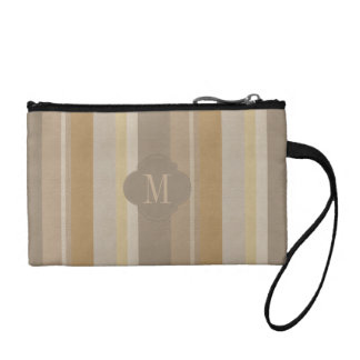 Monogram colourful leather stripes effect coin purse