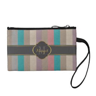 Monogram colourful stripes change purse
