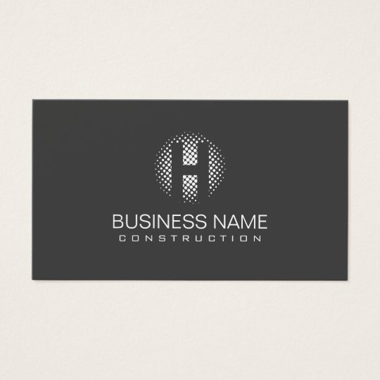 Monogram Construction Modern Grey Professional Business Card