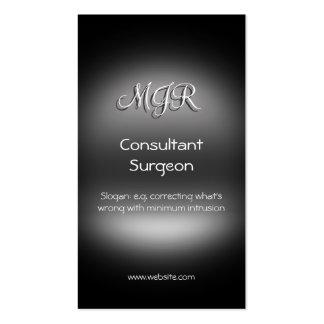 Monogram, Consultant Surgeon, metal-look Business Card Templates