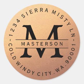 Monogram Copper Circular Return Address Label