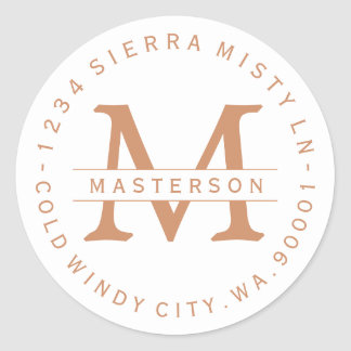 Monogram Copper Text Circular Return Address Label