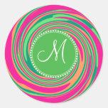 Monogram Coral Hot Pink Green Whirlpool Swirl Round Sticker