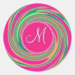 Monogram Coral Hot Pink Green Whirlpool Swirl Round Stickers