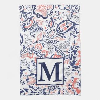 Monogram Coral Navy Peach Vintage Floral Pattern Kitchen Towel