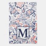 Monogram Coral Navy Peach Vintage Floral Pattern Towel