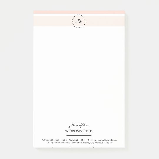Monogram Coral Pastel Professional Post-it® Notes