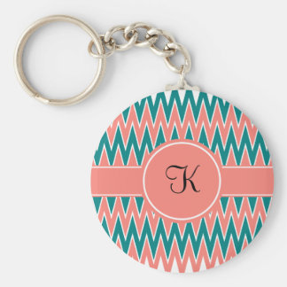 Monogram Coral Pink and Teal Zigzag Pattern Basic Round Button Key Ring