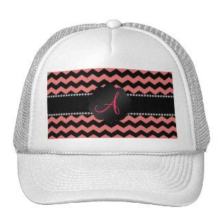 Monogram coral pink black chevrons cap