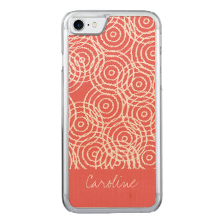 Monogram Coral Pink Ikat Circles Geometric Pattern Carved iPhone 8/7 Case
