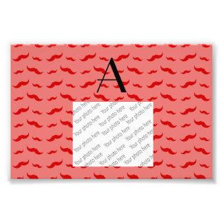 Monogram coral pink mustache pattern art photo