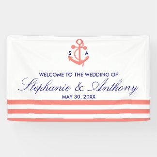 Monogram Coral Pink Nautical and Navy Blue Wedding